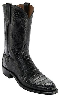 Lucchese 1883 Men's Black Ultra Belly Caiman Exotic Roper Boots | Cavender's