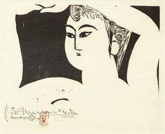 Satsuko An illustration for Junichiro Tanizaki's novel - Diary of a Mad Old Man Japanese Prints, Japanese Art, Japanese Illustration, Illustration Art, Japanese Woodcut, Lino Cuts, Buddhist Art, Monochrom, Art Graphique