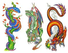 TATOO DRAGON , FLORAl. by SubImageStudio on Etsy