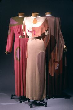 "1945 ""Shades of Picasso"" dresses by Gilbert Adrian, American."
