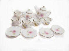 Miniature Decorative Porcelain Tea Set 13 Pieces by cindychan1, $7.99