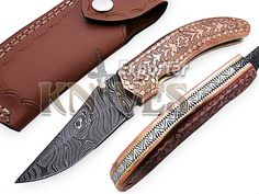 Knives Exporter Custom Damascus Steel Folding Knife Engraved Copper Handle F-F49 #KnivesExporter