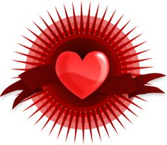 Heart with Rays and Banner Clip Art
