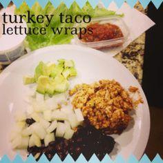 Turkey taco lettuce wraps! Whole Food Diet, Whole Food Recipes, Diet Recipes, Healthy Recipes, Healthy Foods, Turkey Lettuce Wraps, Turkey Tacos, Banana Oat Pancakes, Banana Oats