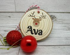 Personalised Christmas Tree Decoration, Custom Xmas Decoration, Christmas Tree bauble personalised with a name, Reindeer Log Slice