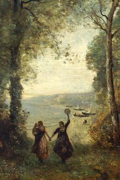 COROT, Jean-Baptiste Camille : Reminiscence of the Beach of Naples oil on canvas 175 x 84 The National Museum of Western Art, Tokyo National Gallery Of Art, Cool Landscapes, Landscape Paintings, Naples, Chateau Saint Ange, Barbizon School, Art Occidental, Art Français, Google Art Project