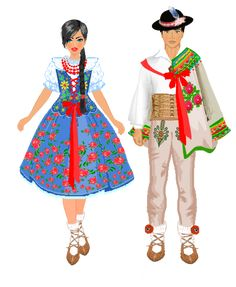 Folk Costume, Costumes, Polish Folk Art, Historical Costume, Traditional Outfits, Snow White, Disney Princess, People, Disney Characters
