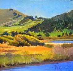 Carmel River California, coastal, plein air painting by Robin Weiss, painting by artist Robin Weiss
