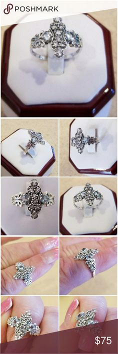 Genuine 1ct Art Deco Filigree Aquamarine Ring 8 Dainty, Classy,  Shiny, Sparkly..  and more!!!  Set in 925 stamped Solid Sterling Silver.  Please see all pictures for more detail.  Brand New. Never Worn.  Wholesale Prices Always! Jewelry Rings