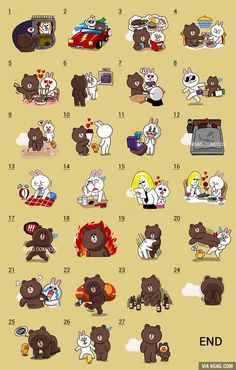 The Love Story of Brown & Cony in Line Stickers