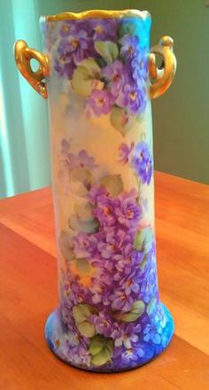 "Gorgeous 10"" Floral Antique Hand Painted Vase Violets Bavaria Limoges."