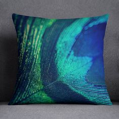 Blue Peacock Feather Decorative Throw by KaliLainePhotography