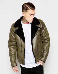 Image 1 of ASOS Faux Shearling Jacket In Olive