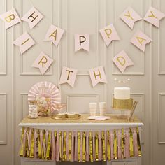 pastel pink and gold foiled 'happy birthday' bunting by ginger ray | notonthehighstreet.com