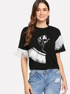 Contrast Lace Figure Print Top -SheIn(Sheinside) Fabric Paint Shirt, T Shirt Painting, Diy Fashion, Love Fashion, Fashion Dresses, Fashion Design, Fancy Tops, Vetement Fashion, Painted Clothes