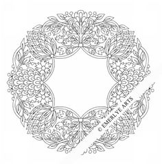 ARTICHOKE WREATH - adult coloring page by Cynthia Emerlye, Vermont artist and kirigami papercutter