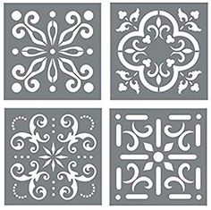 Mexican Tile Stencil Set Pack of Four 44 Tile Stencil Designs Wall or Floor Tile Stencils for Making Mosaic Tile Stencil Patterns from Walmart USA Geometric Stencil, Leaf Stencil, Stencil Diy, Geometric Wall, Stencil Painting, Tile Stencils, Painting Walls, Stencils For Walls, Stenciling