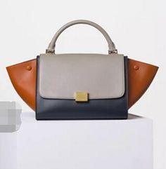 New Arrival 2016 Celine Bags Outlet-Celine 26cm Trapeze Top Handle Bag in Multi-color Calfskin Leather CS0331-TBB