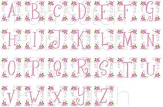 Rose letters machine embroidery design font