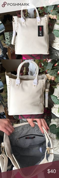 """NEW WITH OUT TAGS-JUST FAB TOTE-IVORY NEW WITHOUT TAGS-JUST FAB LARGE TOTE-IVORY WITH GOLD STUDS-16"""" WIDE-15"""" HIGH-5""""DEEP JustFab Bags Totes"""