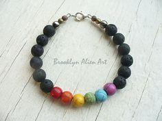 Womens Original Classy Rainbow Pride Jewelry -  8 mm Black Lava Beaded Bracelet - Gay Pride