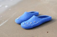 Felted slippers - Sea shells - Ready to ship (EU 38/ UK 5/ US 7,5). $58.00, via Etsy.