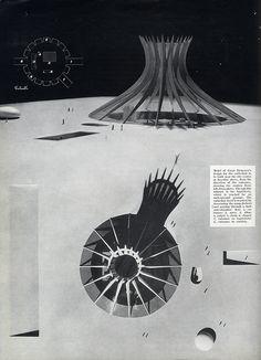 Oscar Niemeyer - Design for theCathedral of. Space Architecture, Architecture Student, Architecture Drawings, Amazing Architecture, Architecture Details, Oscar Niemeyer, Arch Model, Logs, Concept Art