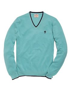 Solid V-Neck Tipped Sweater - Brooks Brothers
