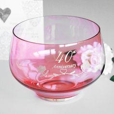 40th Ruby Wedding Anniversary Gifts Crystal Bowl