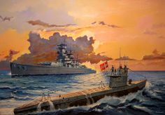 A beautiful painting depicting a WWII Type VII U-boat setting out on patrol at sunset, sailing past the German Pocket Battleship Graf Spee.