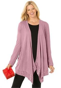 Plus Size Cascade front cardigan sweater with sequins