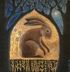 The Sacred glade 2 - Hannah Willow, Illustrations, Illustration Art, Hare Pictures, Rabbit Art, Bunny Art, Pics Art, Folk Art, Contemporary Art, Artsy