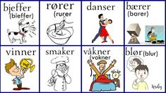 Norsk verbs Norwegian Words, Norway Language, Comics, Funny, Languages, Activities, Pictures, Idioms, Funny Parenting