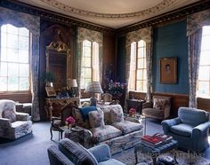 blue drawing room of Chicheley Hall ~ Chicheley Hall is a perfect early 18th century house set in charming parkland complete with ponds