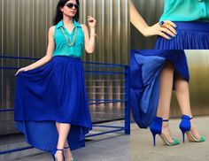 Zara Cobalt Blue Maxi Skirt, Zara Colorblock Sandals, Blouse - Cobalt color-block - Layla Asgari