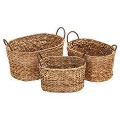 Stow glossy magazines in the living room or spare linens in your master suite with this lovely basket set, showcasing woven wicker designs and a neutral pale...