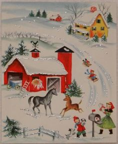 #1173 50s Glittered Farm Barnyard- Vintage Christmas Greeting Card