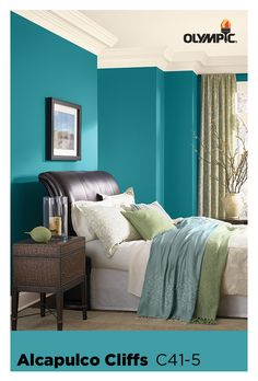 The Best Olympic Paint Colors: 10 Moody Blues: Wake up every day in a beachy mood, surrounded by Acapulco Cliffs. A jewel-toned turquoise, this statement color is simultaneously vibrant and soothing. Decor, Transitional Living Rooms, Bedroom Paint, Blue Bedroom Paint, Bedroom Paint Colors, Bedroom, Interior Design, Home Decor, Room