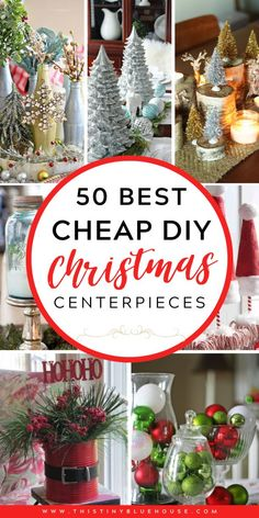 Festive DIY Christmas Centerpieces – This Tiny Blue House Glam up your mantel, coffee and dining table with these DIY Festive Christmas Centerpieces. From traditional to rustic there's a centerpiece to fit every decor style. Dollar Tree Christmas, Cheap Christmas, Diy Christmas Gifts, Rustic Christmas, Christmas Projects, Simple Christmas, Christmas Holidays, Christmas Skirt, Christmas Ideas