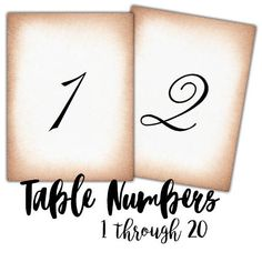 INSTANT DOWNLOAD PDF Printable Table Numbers. DiY Wedding. Wedding Table. Party Table. Elegant Party Planner. Numbers. Table Decor. Decor