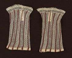 Child's wristlet (one of a pair)      French, 19th century       France  Dimensions      14.4 x 8.5 cm (5 11/16 x 3 3/8 in.)  Medium or Technique      Cotton knit and bobbin lace  Classification      Costumes   Accession Number      52.1216a