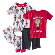 Just One You� Made by Carter's� Infant Toddler Boys' 4-Piece Short-Sleeve Monkey Pajama Set