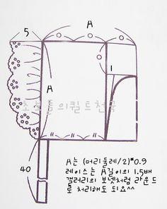 머리둘레의 사이즈만 알면 간단히 그릴 수 있는 보넷축소패턴입니다.뒷머리부분의 1cm 부분을 많이 파주면 ...