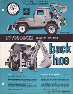 The model 8-BH Backhoe for the Willys CJ5 model was a hydraulically operated device which attached to the small bed of the Jeep. It carried outrigger pads for stability and featured bucket widths of 12″ -20″ with replaceable teeth.  It did require the 7000 # dual rear wheel axle to support it along with full length frame reinforcement. It was manufactured by Go- For-Digger Company with offices in Toledo,Oh and Hawthorne ,Ca.