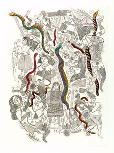 Artist: HANRAHAN, Barbara | Title: Snakes and ladders | Date: 1978 | Technique: etching, printed in black ink with plate-tone