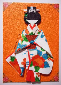 "ATC1267 - Beauty in a ""furisode"". ATC with handmade Japanese paper doll."