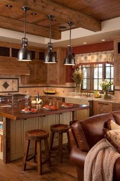 Spanish Peaks House - rustic elegance at its best rustic kitchen Log Cabin Kitchens, Log Cabin Homes, Rustic Kitchen Design, Country Kitchen, Kitchen Dining, Kitchen Decor, Cozy Kitchen, Kitchen Stools, Green Kitchen