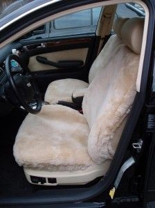Custom tailor made sheepskin car seat covers for an Audi. Sheepskin adds comfort to any seat. Cool in summer and warm in winter. Visit us at Sheepskin of Oregon in Portland's Pearl District. #SheepskinOfOregon