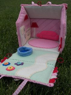 """This would be perfect for Miss M!  For our """"class"""". We could make the boys the house/car playmats and this for her. Plus the tutorial has some great things I would add to the playmat."""