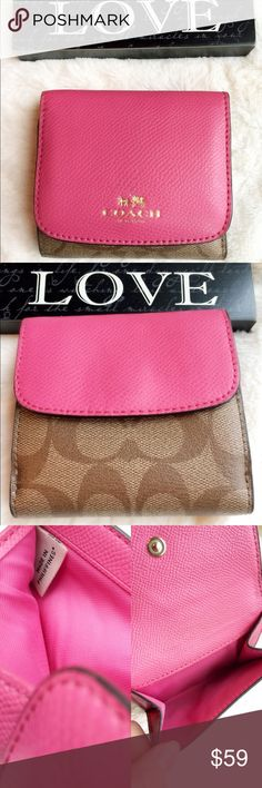 """Pre-Owned Coach signature canvas wallet Signature coated canvas Nine credit card pockets Bill compartment Snap closure Outside snap pocket 4 1/4"""" (L) x 3 1/2"""" (H)  This wallet is very cute and compact. In great condition. From pet and Smoke free home  PRICE FIRM  TRADE LOWEST Coach Bags Wallets"""